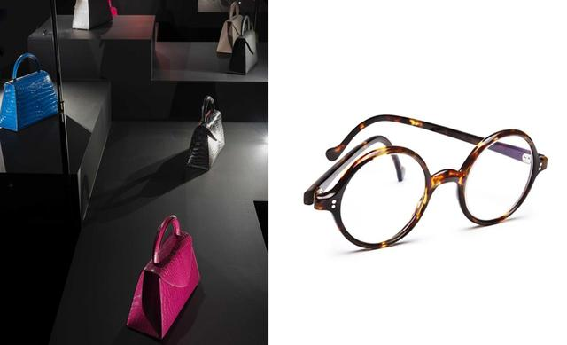画像: (写真左から) セルジュ・アモルソ バッグから財布、家具やエレベーターの内装まで手がける革職人。エジプトのピラミッドに着想を得たバッグを、多様な素材を組み合わせて制作 クリスティアン・ボネ 熱と圧力により結合するべっ甲の特質を活かしたものづくりを展開。本展では、様々な著名人に提供したべっ甲メガネを復刻して展示 © PHILIPPE CHANCEL