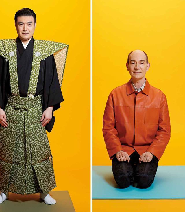 画像: (左) 竹本織太夫 1975年、大阪生まれ。祖父は文楽三味線の二代目鶴澤道八、伯父は鶴澤清治、実弟は鶴澤清馗。8歳で豊竹咲太夫に入門、豊竹咲甫太夫を名乗る。2018年1月、六代目竹本織太夫の名跡を襲名。裃に入った定紋は「抱き柏に隅立四つ目」 (右) ロバート キャンベル 日本文学研究者。国文学研究資料館長。アメリカ・ニューヨーク市生まれ。2007年、東京大学大学院総合文化研究科教授に就任。2017年から現職。専門は近世・近代日本文学。テレビ、ラジオ等多くのメディアで活躍