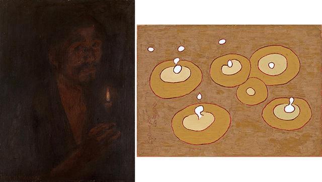 画像: (写真左から) 《蠟燭(ローソク)》 1909年 岐阜県美術館 《雨滴》 1961年 愛知県美術館 木村定三コレクション (FROM LEFT)COURTESY OF THE MUSEUM OF FINE ART, GIFU, COURTESY OF KIMURA TEIZO COLLECTION,AICHI PREFECTURAL MUSEUM OF ART