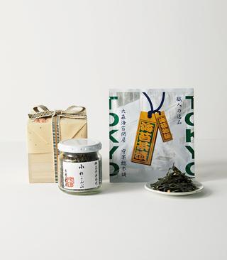茶漬け「海苔物語」 (右)、「小松こんぶ」(左)