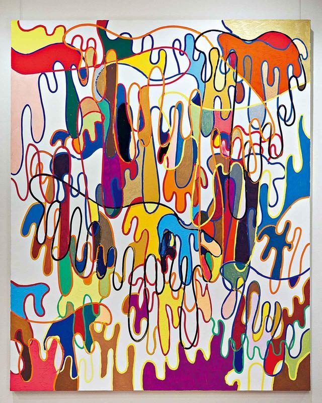 画像: 絵の具のしたたりを面白く感じたところから増殖していった作品 © SHINGO KATORI
