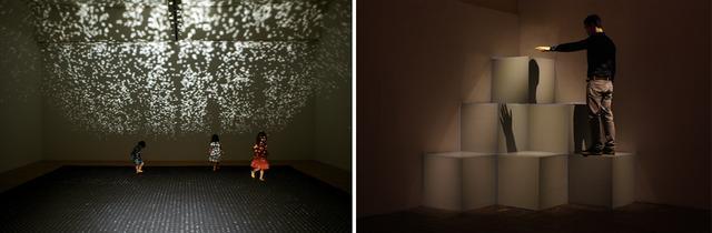 画像: (写真左から)東京都現代美術館『こどものにわ』展での《reflections》の展示風景。《lights on cubes》の展示風景。イギリスの『ワークスワースフェスティバル』にて COURTESY OF ARTST