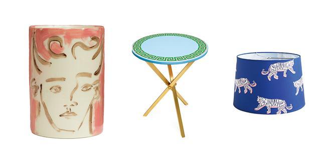 画像: (左)ホールが手がけた牧神の花瓶 (中)幾何模様が連続する飲み物用の丸テーブルは「ザ・ラッカー・カンパニー」のためにデザインしたもの (右)「アンソロポロジー」のタイガープリントのランプシェード (左より)COURTESY OF LUKE EDWARD HALL/REBECCA REID, COURTESY OF THE LACQUER COMPANY, COURTESY OF ANTHROPOLOGIE