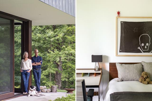 画像: (写真左)メアリーとブライアン・チャンドラー。8月、犬のバディと一緒に自宅にて。(写真右)チャンドラー家の3人の子どものためのベッドルームのひとつ