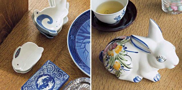 画像: (写真右)「usagi」で使用される予定のうさぎ柄の皿の数々。「usagi」オリジナルデザインのものも多数 (写真左)ユーラシア大陸最西端ポルトガルのロカ岬の店から水晶が連れ帰った陶器のうさぎの貯金箱