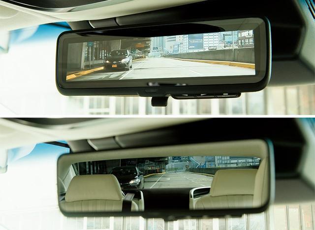 画像: 車両後方カメラの映像を表示する「デジタルインナーミラー」(写真上)。レバーひとつで鏡面モード(写真下)と切り替えが可能