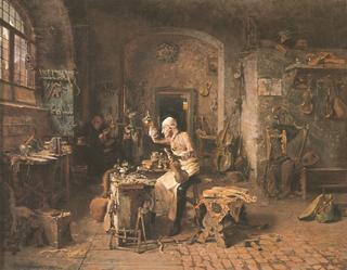 """Alessandro Rinaldi """"Stradivarius in his atelier"""" 1886"""