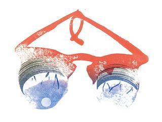 目玉がぶらさがっている眼鏡
