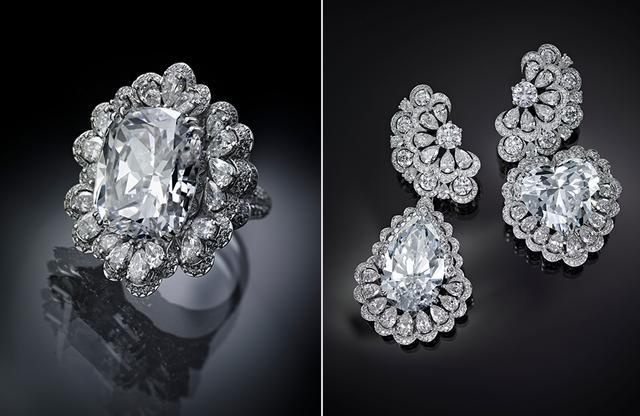 画像: 「ガーデン・オブ・カラハリ」 (写真左)リング (写真右)イヤリング。ペンダントヘッドにもなる「ペアシェイプ」と「ハートシェイプ」のダイヤモンドをメインストーンとして使用することもできる