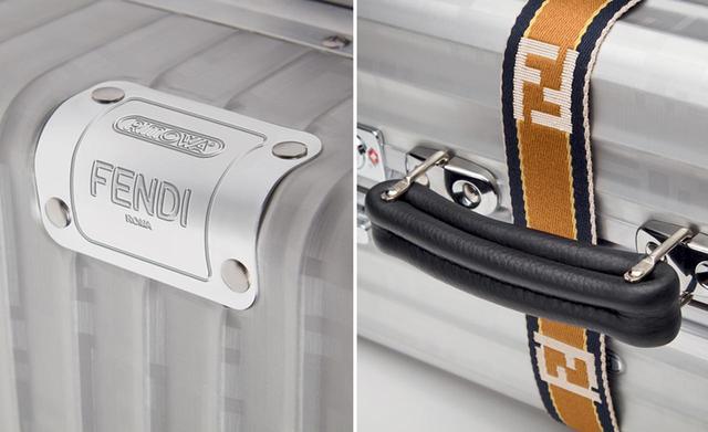画像: (写真左)ダブルネームのタグ。ケース本体にはツヤ消し加工の「FFロゴ」が (写真右)ハンドル部分には、肉厚の「クオイオ ローマ」を使用
