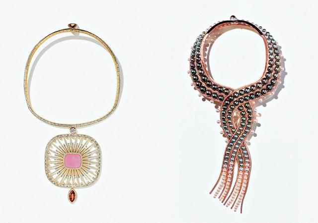 画像: (写真左から) 「アトラージュ・セレスト」のネックレス <イエローゴールド、オパール、インペリアルトパーズ、サファイア、ダイヤモンド> 「オンブル・エ・リュミエール」のネックレス <ピンクゴールド、タヒチパール、アコヤパール、南洋パール、ダイヤモンド> PHOTOGRAPHS: ©HERMÈS