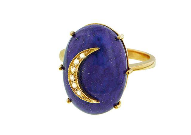 """画像: アンドレア フォーマンのラピスラズリとダイヤモンドの指輪 """"ムーンリング"""" YLANG23"""