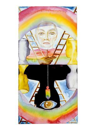 フランチェスコ・ クレメンテ『タロットカード_ジャスパー・ジョーンズが教皇だったら』(2011年)