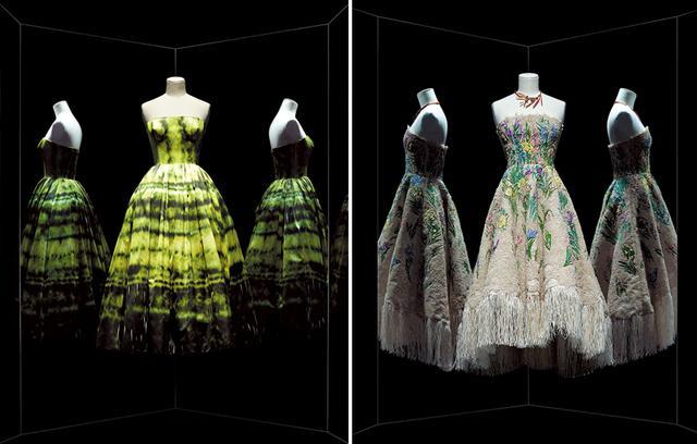 画像: (写真左から)2012年秋冬 ラフ・シモンズがデザインしたドレス、2017年春夏 マリア・グラツィア・キウリによる「Essence d'herbier」カクテルドレス COURTESY OF LES ARTS DÉCORATIFS / NICHOLAS ALAN COPE