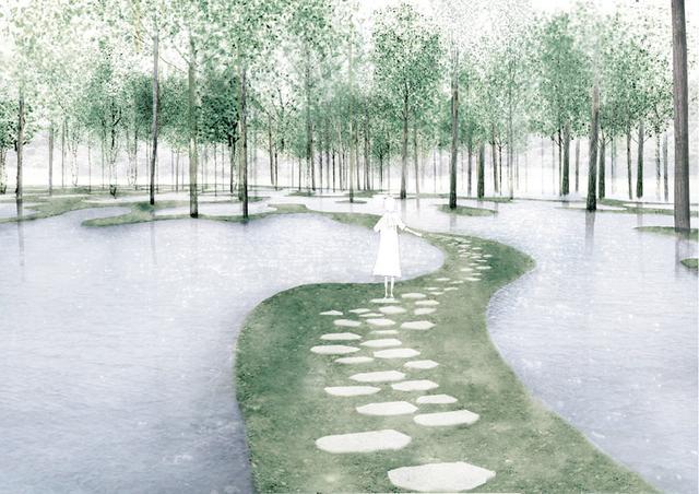 画像: 栃木県のアート・ビオトープ那須に計画されているファームガーデン〈アート ビオトープ〉透視図。伐採される森全体を移植するプロジェクト