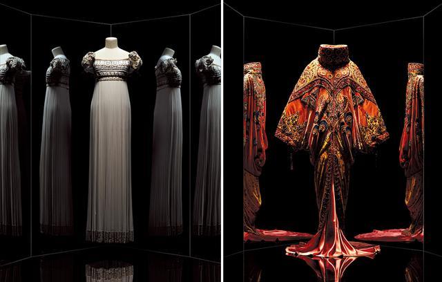 画像: (左から)1992年春夏 ジャンフランコ・フェレによる「Palladio」ドレス、1998年春夏 ジョン・ガリアーノによる「Shéhérazade」アンサンブル COURTESY OF LES ARTS DÉCORATIFS / NICHOLAS ALAN COPE