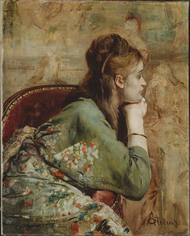 """画像: 「瞑想」 ステヴァンス 1872頃 ボストン美術館 1900年のパリ万国博覧会をきっかけに、一大ブームを巻き起こした""""きもの""""。西欧で認知され始めた段階では、 まずおしゃれな女性たちの室内着としてとりいれられた COURTESY OF MUSEUM OF FINE ARTS, BOSTON"""