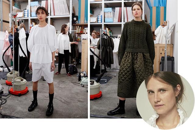 画像: (写真右下)セシリー・バーンセン。アーデムやジョン ガリアーノで働いた後に自らのブランドを立ち上げ、LVMHプライズ2017にノミネートされた。 (写真左・中央)白いコットンブラウスとショートパンツのルックに、シルクのキルトスカートとウェルシュニットを合わせたルック。ともにセシリー バーンセン'18-'19年秋冬コレクションより