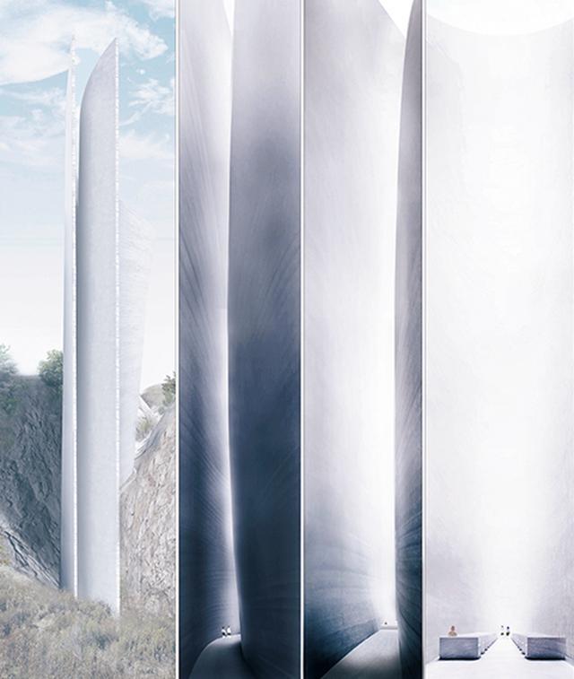 画像: 中国・日照市で進行中の〈谷間のチャペル〉外部から内部に入る様子を示した透視図。曲線が特徴的な高くそびえる教会の10分の1模型も展示予定