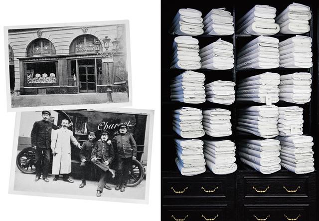 画像: (写真左)1900年当時の店の外観/ 1910年頃の同店のランドリーと 配送の担当班 (写真右)アトリエの2 階に ある白の生地が並んだ棚 (LEFT)Courtesy of Charvet (RIGHT)PHOTOGRAPH BY SARAH AUBEL