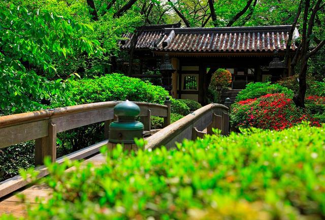 画像: 緑が美しい日本庭園には山門や鐘楼も