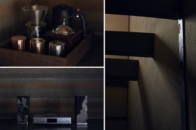 画像: (写真左上)お茶は柳桜園のもの。コーヒーは開化堂のブレンドを常備 (写真左下)テクニクスとコラボした世界で一台のスピーカー。その表面にはHOSOOのテキスタイルを使用 (写真右)土壁は、飛鳥時代から伝わる、版築(はんちく)という左官の技術により仕上げている PHOTOGRAPHS: COURTESY OF HOSOO RESIDENCE