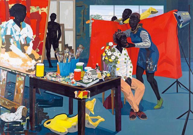 画像: ケリー・ジェームズ・マーシャルの《Untitled(Studio)》 (2014年、PVCパネルにアクリル絵の具) 2016年に開催された彼の回顧展は、リアリズム人物画の新しい時代の到来を告げた THE METROPOLITAN MUSEUM OF ART,PURCHASE, THE JACQUES AND NATASHA GELMAN FOUNDATION GIFT,ACQUISITIONS FUND AND THE METROPOLITAN MUSEUM OF ART MULTICULTURAL AUDIENCE DEVELOPMENT INITIATIVE GIFT, 2015, © KERRY JAMES MARSHALL