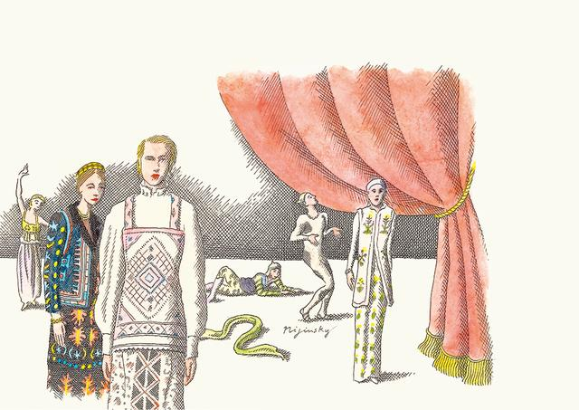 画像: 東欧から吹く風 イラストレーター、ピエール・ル・タンが描く、さまざまな表情のロシアン・ファッション。このスタイルの先駆けとなった、1909年のエキゾティックなバレエ・リュスのコスチュームは、現在もなお、ジャンバティス・ヴァリ、ヴァレンティノといったヨーロッパのメゾンを魅了してやまない