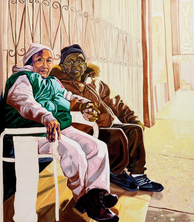 画像: ジョーダン・キャスティールの《Yvonne and James》 (2017年、キャンバスに油彩) 長い間流行遅れとされてきた肖像画を用いて成功を手にした画家だ PHOTO: JASON WYCHE, COURTESY THE ARTIST AND CASEY KAPLAN, NEW YORK