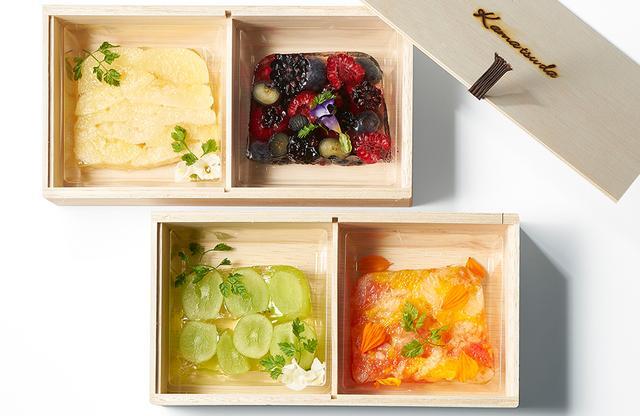 画像: (写真上左より)「白桃のテリーヌ」、「色々なベリーのテリーヌ」 (写真下左より)「シャインマスカットのテリーヌ」「色々な柑橘系のテリーヌ」 各¥680、木箱代別途 ¥380