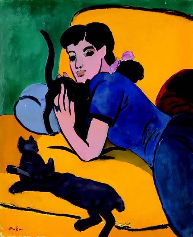画像: 《青い服》 1949年、油彩・カンヴァス 丸亀市猪熊弦一郎現代美術館蔵