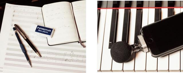 画像: 仕事に使う必需品は、五線譜のノート、音符の玉がさっとかける太芯のシャープペンシルと消しゴム。モレ スキンの小型の五線譜手帳は外出用。下は外出時に必ず持って出かけるというスマートフォン用のマイク。 噴水の音、子どもたちの声など、気になる環境音をいつでもどこでも録音できるように。「マスクをして人の波に逆らいながら録音している。部長の悪口を言ってるOLの会話や人の足音がおもしろく聞こえるんですよ」