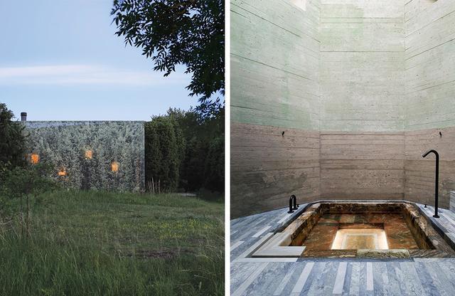 画像: (写真左)建築家のユニットであるハンズ・マーマンとウラ・アルバーツの夫妻が手がけた住宅は、周辺のジュニパーの木の実物大の写真が印刷されたシートに覆われている (写真右)スカルソ社が住宅に変身させた冷戦時代のバンカー(掩蔽壕:えんぺいごう)には高さ43フィートのミサイル倉庫があり、その地下3階に大理石が敷かれたハマム(中東でよく見られる伝統的な公衆浴場)がある