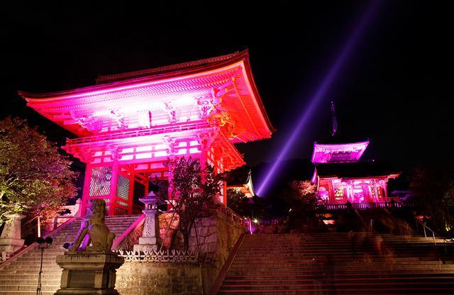 画像: 2000年から始まった「グローバル ランドマーク イルミネーション」では、計1,000か所もの世界のランドマークがピンクに点灯。今年は昨年に続き、京都の清水寺がライトアップされる(写真は昨年のようす)