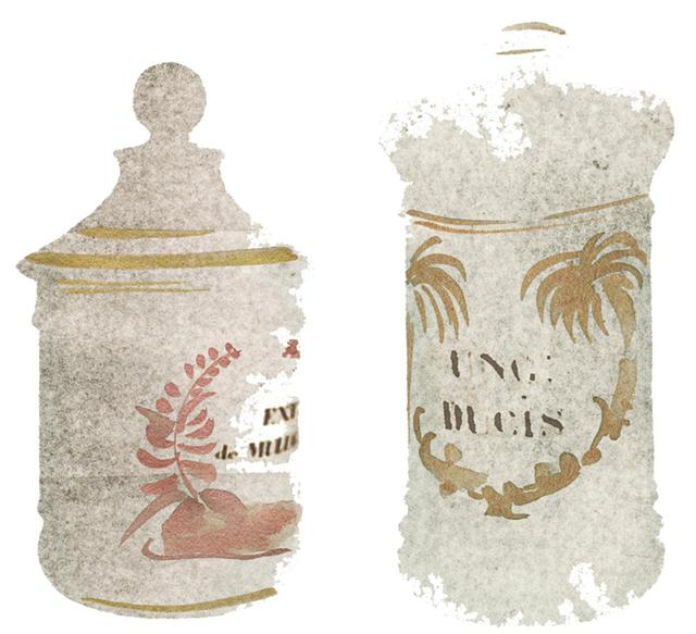 """画像: (左)磁器製ジャー/ブラジル、Ext. de Mulungu(ムルング樹皮エッセンス)、1800年頃 (右)陶器製ジャー/フランス、Ung.Ducis(通称""""公爵の軟膏""""、ウォールナッツオイル、硫黄華、ラードと黄蠟を混ぜたもの)、1800年頃 ほかの写真を見る"""