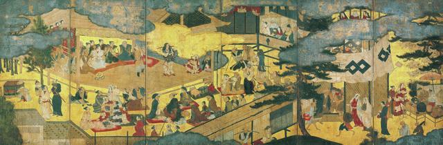 画像: 阿国が立つのは、能舞台を継承した簡略な舞台 《阿国 歌舞伎図屛風》 17世紀初、 紙本金地着色、六曲一隻、京都国立博物館蔵、重要文化財 © KYOTO NATIONAL MUSEUM ほかの写真を見る