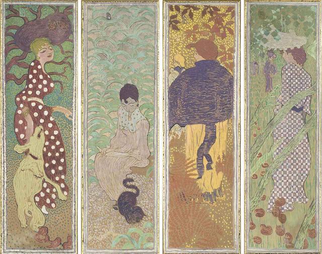 画像: ほかの写真をみる ピエール・ボナール《庭の女性たち》 1890-91年 デトランプ、カンヴァスで裏打ちされた紙(4点組装飾パネル) 160.5×48cm(各) オルセー美術館 © RMN-GRAND PALAIS (MUSÉE D'ORSAY) / HERVÉ LEWANDOWSKI / DISTRIBUTED BY AMF