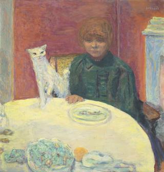 ピエール・ボナール《猫と女性 あるいは 餌をねだる猫》