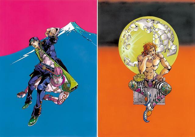 """画像: 原画展の公式ビジュアル。 東京会場は、第3部の主人公である空条承太郎(左)、大阪会場は宿敵、DIO(右)がモチーフに。荒木自身も認める""""最強のふたり""""だ。この2枚の原画も会場に展示されている © HIROHIKO ARAKI & LUCKY LAND COMMUNICATIONS / SHUEISHA ほかの写真をみる"""