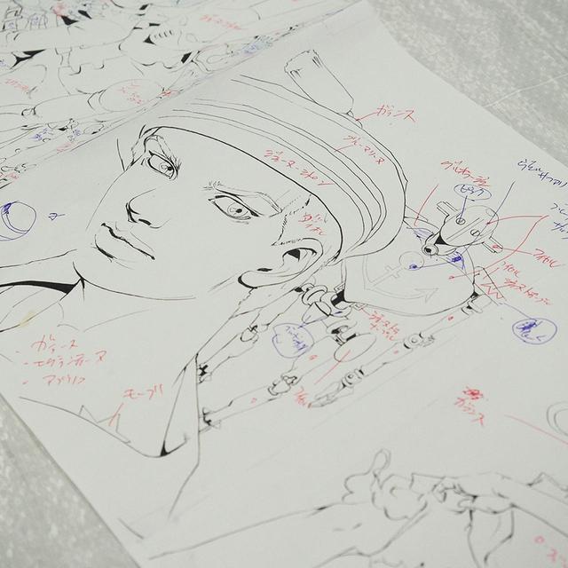 画像: 作業場に置かれていた大型原画の設計図。これをベースに着色していく www.tjapan.jp