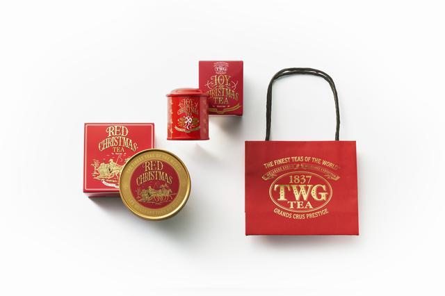 画像: (左)「Red Christmas Tea ミニキャビア缶」<茶葉50g>¥2,400 (中央)「Joy of Christmas Teaミニ缶」<茶葉20g>¥1,550 (右)クリスマスティー専用の限定ショッパー