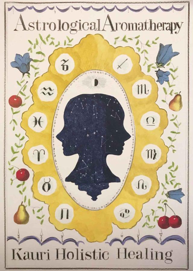 画像: 「kauri holistic healing」のシンボリックなポスター。占星術アロマセラピーは、天体や植物、人間など自然界のものは呼応し、関連しあうという考えに基づいている ILLUSTLATION BY HIROSHI KATO / COURTESY OF KAURI HOLISTIC HEALING