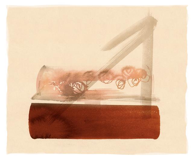 """画像: 透明なふたの中に造花を入れた、""""棺""""を摸したルーサイトバッグ/メーカー・年代不明 ほかの写真をみる"""