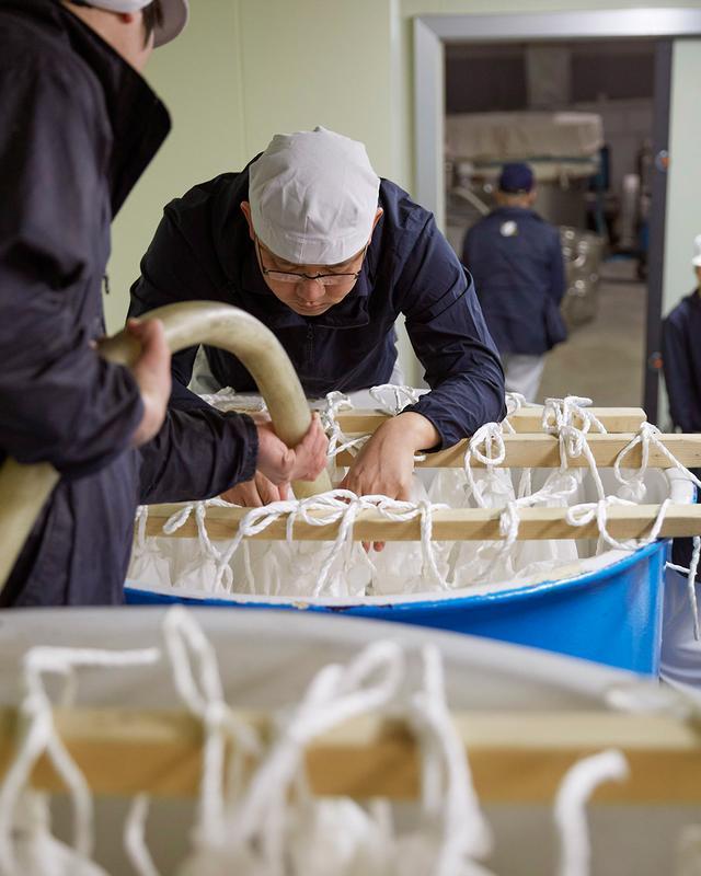 画像: タンクに掛けられたさらしの袋に、ホースでもろみを入れていく「斗瓶取り」の作業。もろみを混ぜる人、袋を開く人、ホースで1滴ももらさぬように袋に入れる人。緊張感の中、それぞれが声をかけ合い、小気味よいテンポで作業が進む