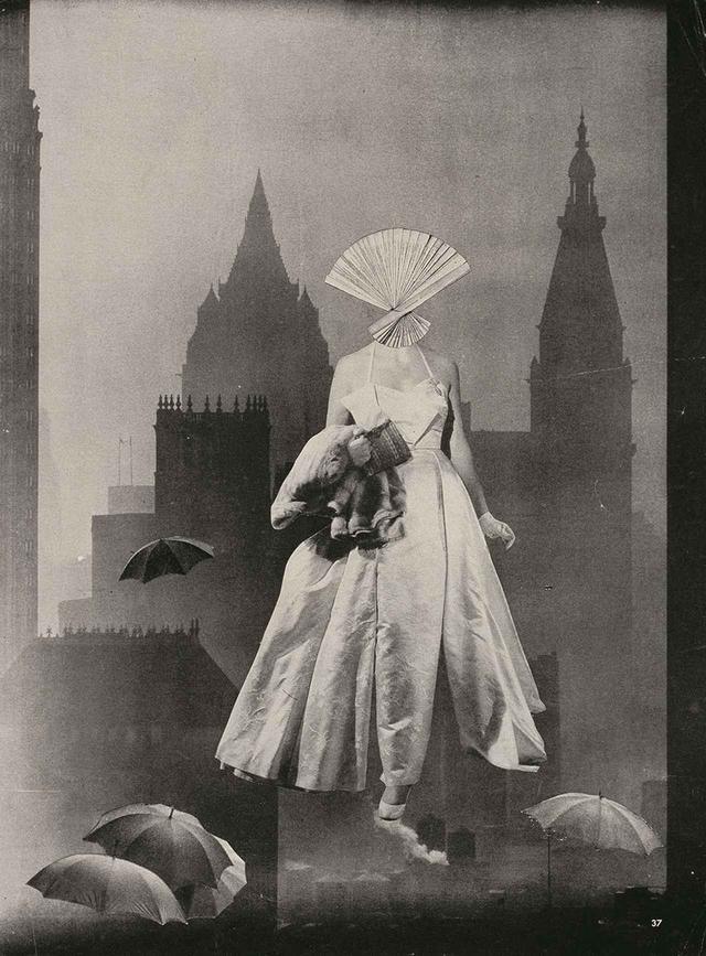 画像: 《夜間訪問》 c.1952 コラージュ、写真網目版印刷 東京国立近代美術館蔵