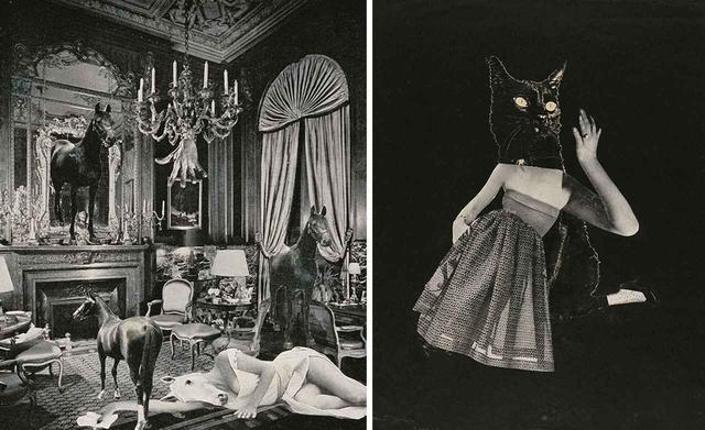 画像: (左) 《幻想》 c.1954 コラージュ、写真網目版印刷 個人蔵 (右) 《マスク》 1952 コラージュ、写真網目版印刷、紙 個人蔵 PHOTOGRAPHS: © OKANOUE TOSHIKO