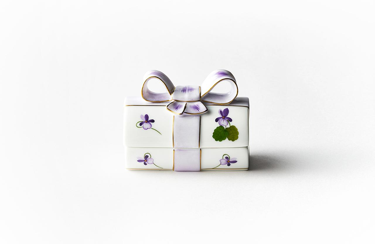 Images : ヘレンド バイオレット リボンボックス ¥37,000