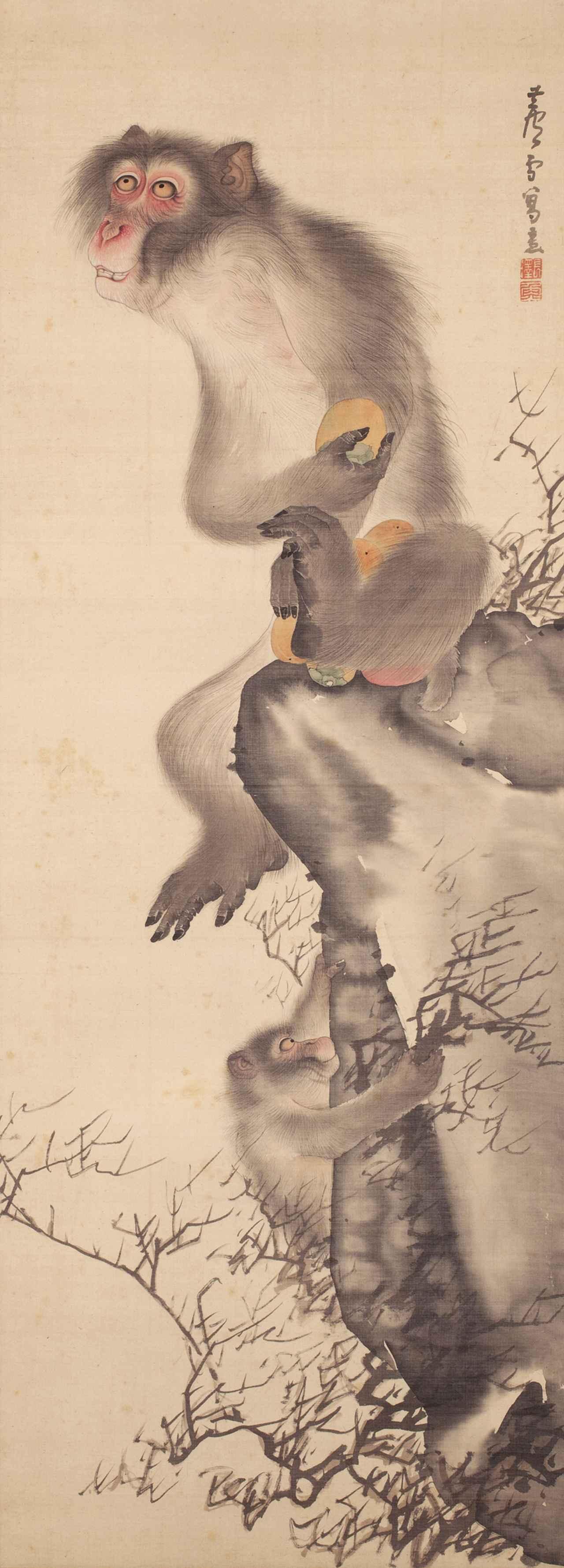 Images : 長沢芦雪 《猿猴弄柿図》