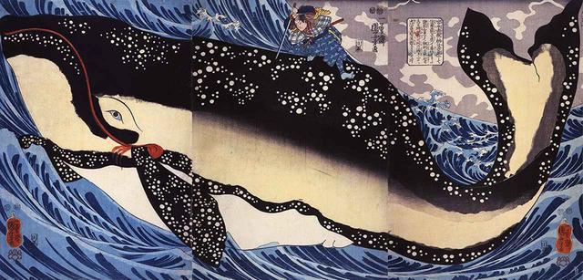 画像: 歌川国芳 《宮本武蔵の鯨退治》 大判三枚続 弘化4年(1847)頃 個人蔵