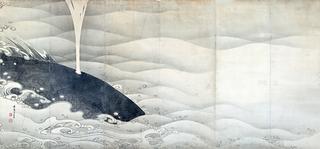 伊藤若冲 《象と鯨図屛風》(左隻)